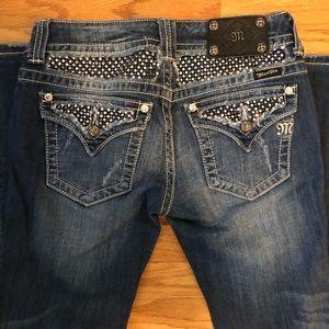 Missme Black Studded Straight Cut Jeans Size 28